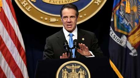 New York Gov. Andrew Cuomo delivers his State