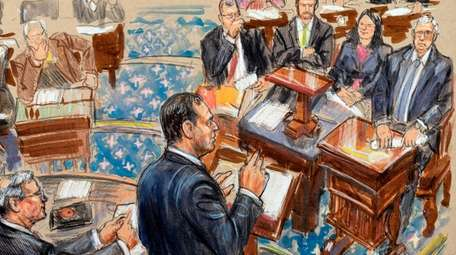 This artist sketch depicts impeachment manager Rep. Adam