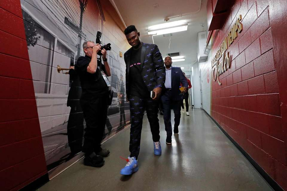 New Orleans Pelicans forward Zion Williamson arrives at