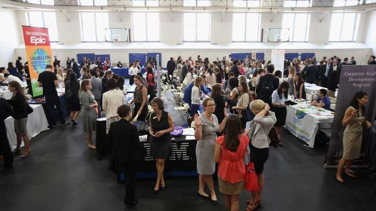 College students and potential employers meet at the
