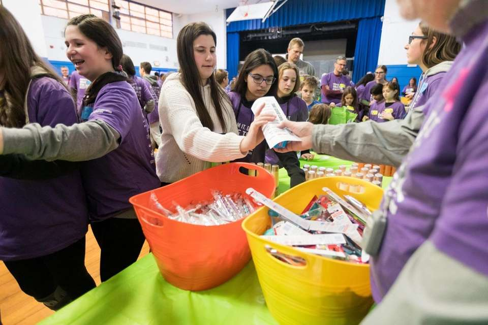 Volunteers package toiletries during the UJA-Federation of New
