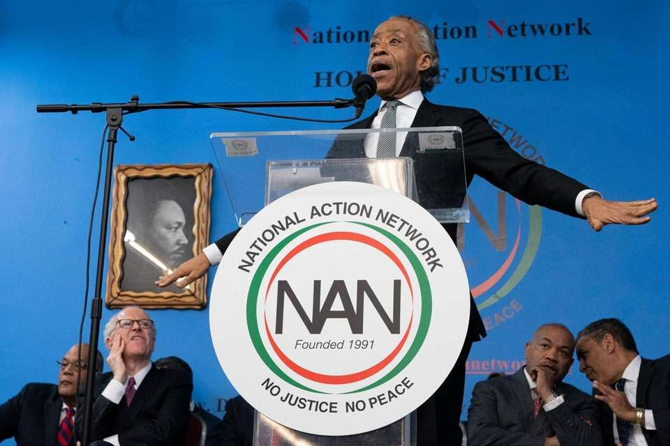 The Rev. Al Sharpton delivers remarks at the