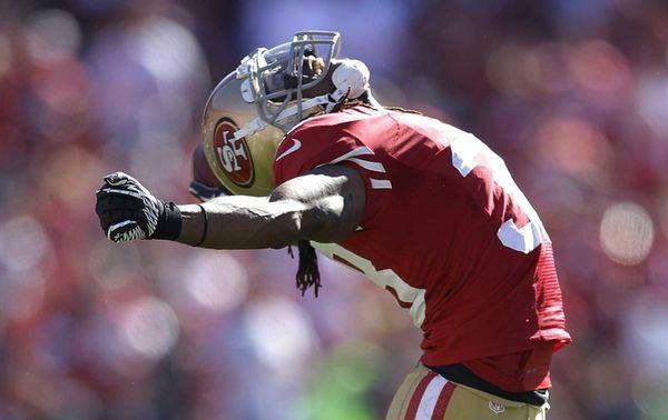 San Francisco 49ers safety Dashon Goldson celebrates after