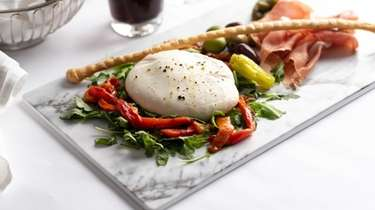 Burrata with marinated peppers, housemade rustico bread, Prosciutto