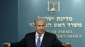 Israeli Prime Minister Benjamin Netanyahu gives a press