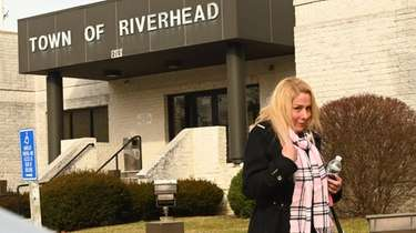 Amanda Byrnes leaves Riverhead Town Justice Court during