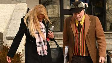 Amanda Byrnes leaves Riverhead Town Justice Court in