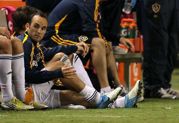 Landon Donovan #of the Los Angeles Galaxy looks