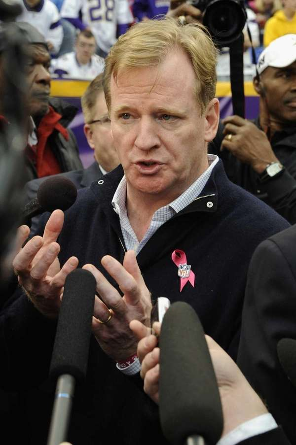 NFL Commissioner Roger Goodell speaks with the media