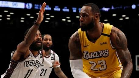 LeBron James of the Los Angeles Lakers controls