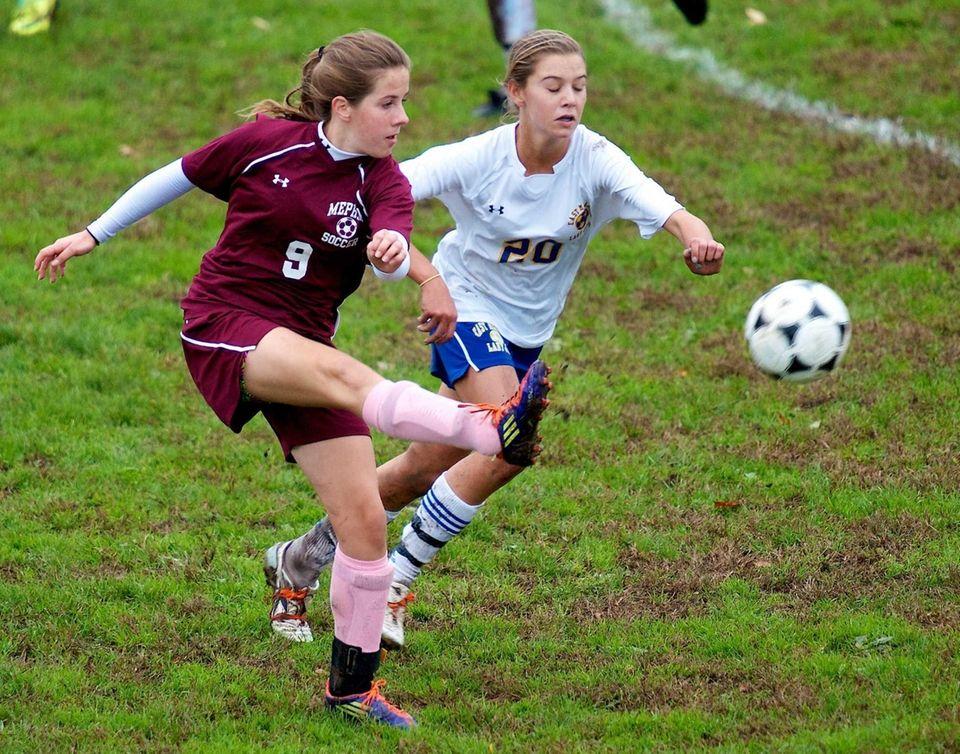 Mepham defender Emily Madden passes the ball past