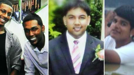 Crash victims Peter Kanhai, Christopher Khan, Darian Ramnarine