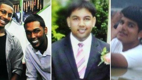 Crash victims Peter Kanhai, Christopher Khan, Darian Ramnarine