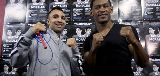 Boxers Daniel Jacobs poses for pictures during a