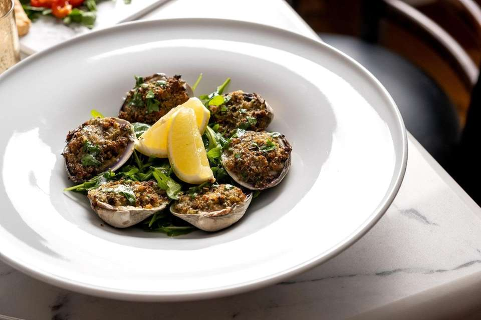 Vongole Oregenata, little neck clams topped with herbed