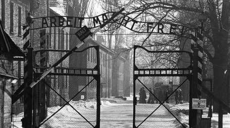 The gates of the Nazi camp at Auschwitz,