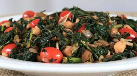 Sauteed kale, onions, grape tomatoes, chickpeas and pine