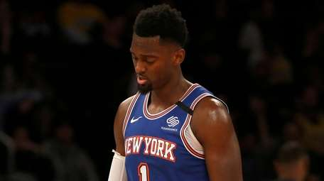 Bobby Portis of the Knicks looks on during