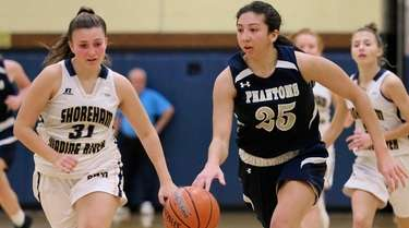 Bayport forward Olivia Monturo moves the ball through