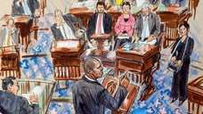 This artist sketch depicts House impeachment manager Rep.
