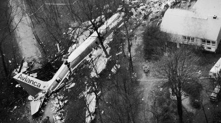 An aerial view of crash scene of Avianca
