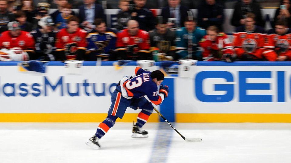 The Islanders' Matthew Barzal skates during the Skills