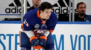 Mathew Barzal of the Islanders competes in the