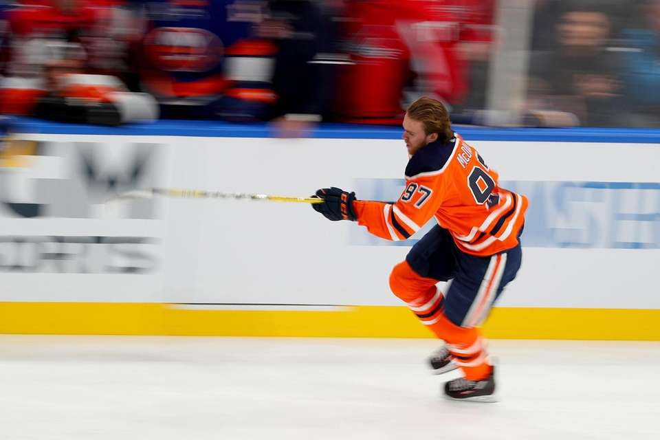 Connor McDavid of the Edmonton Oilers competes in