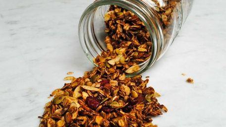Oats, almonds, pumpkin seeds, and dried cranberries add