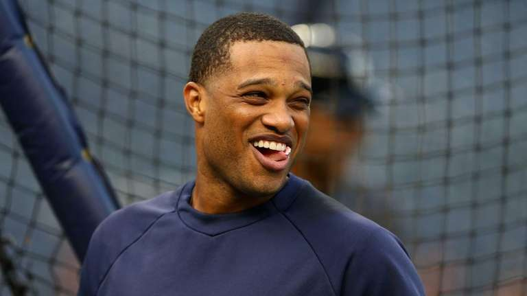 Robinson Cano looks on during batting practice before
