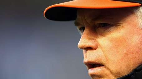 Orioles manager Buck Showalter looks on during batting