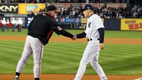Joe Girardi and Baltimore Orioles manager Buck Showalter
