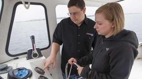 Steve Kreuter, a salesman for Moriches Boat and