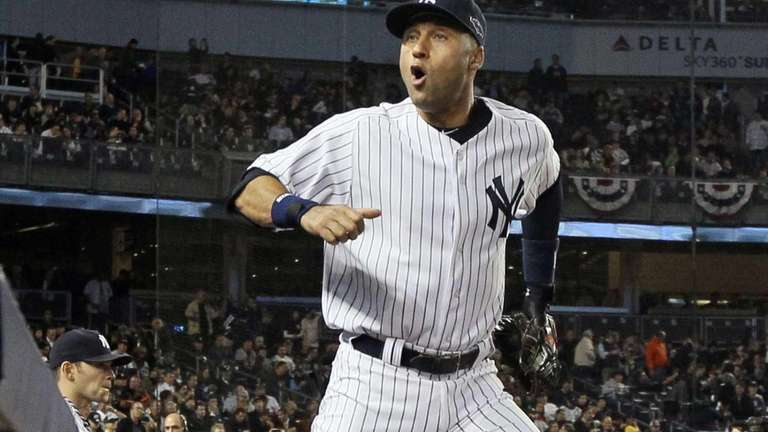 Derek Jeter leads his team on the field