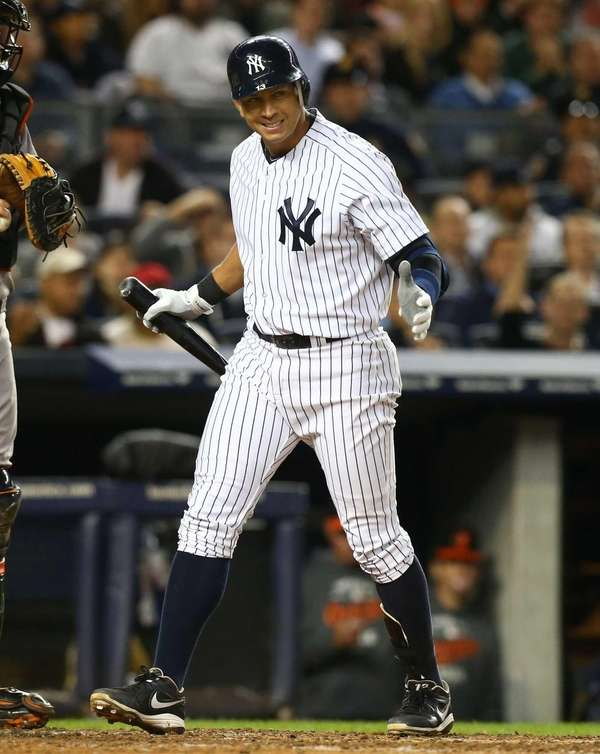 Alex Rodriguez strikes out during the sixth inning