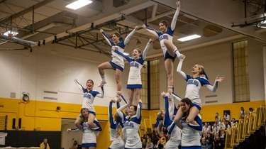 Cheerleaders from Hauppauge High School win the Section