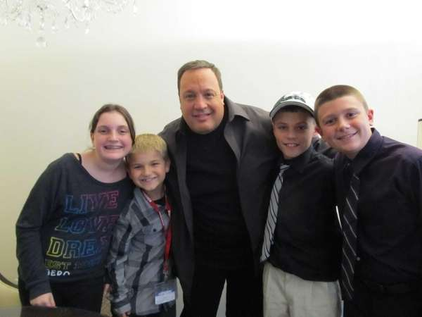 Comedian Kevin James with Kidsday reporters Rosie Vollaro,