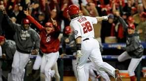 Washington Nationals outfielder Jayson Werth points to the