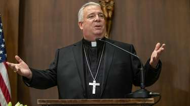 Philadelphia Archbishop-elect Nelson Perez addresses those assembled at