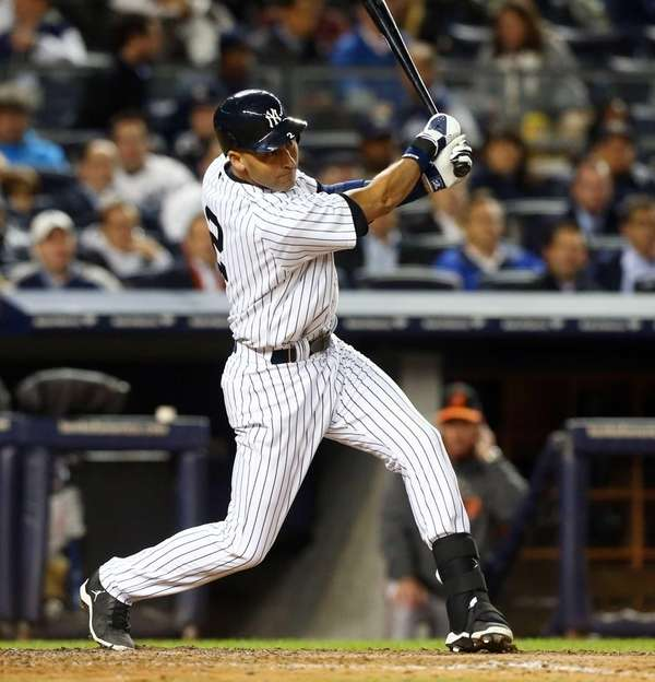 Derek Jeter doubles in the sixth inning of