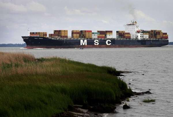 The container ship MSC Emma heads up the