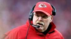 Chiefs head coach Andy Reid reacts against the