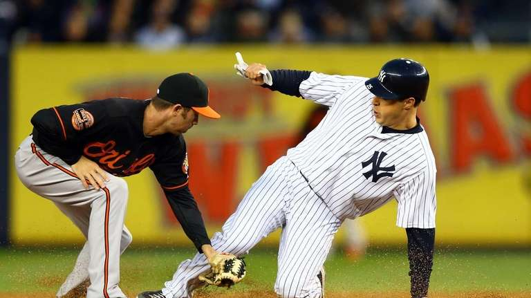 Mark Teixeira steals second base against J.J. Hardy.