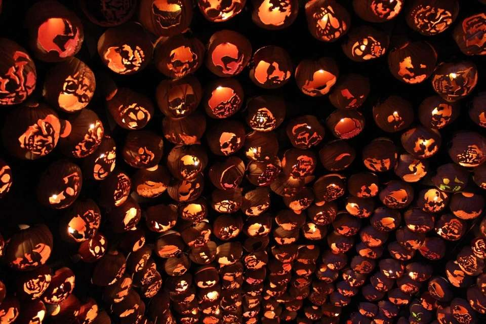 A tunnel made of pumpkins is one of