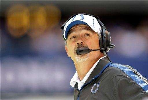 Indianapolis Colts head coach Chuck Pagano checks a