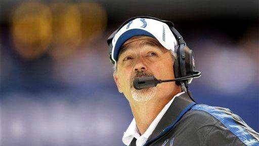 Indianapolis Colts head coach Chuck Pagano checks a