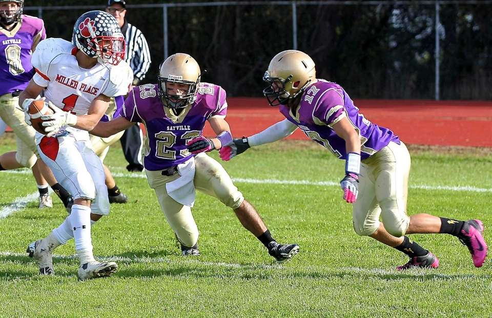 Sayville's James Giattino and Kyle Murray stop Miller