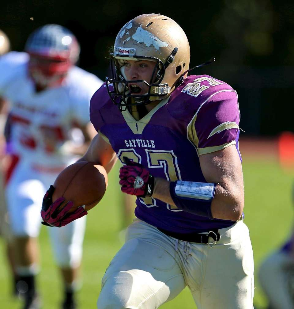 Sayville running back John Haggart heads down the