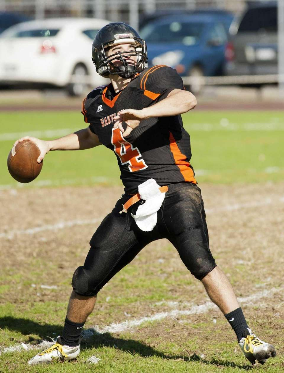 Babylon's quarterback Nick Santorelli gets ready to pass.