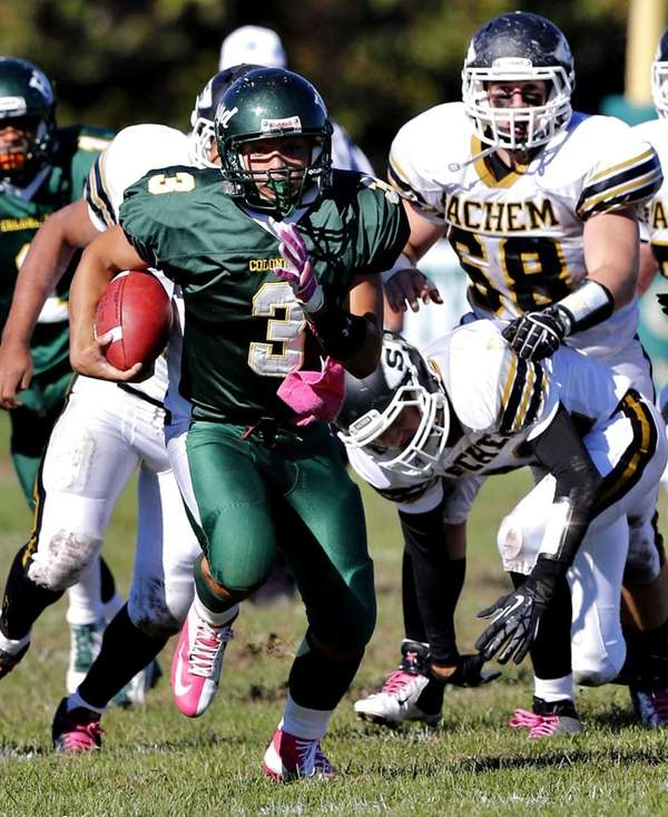 William Floyd quarterback A.J.Otranto breaks into the secondary